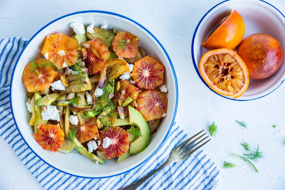 frisse salade van bloedsinaasappel en venkel